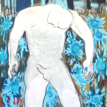 Man in City Aroused, acrylic on paper, 56 by 42, Emilia Kallock 2002