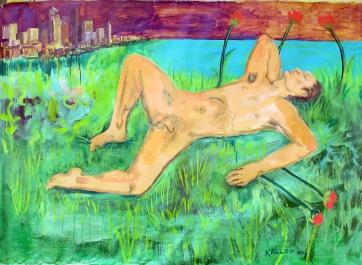 Nude Man in Seattle, acrylic on canvas, 52 by 70 in. Emilia Kallock