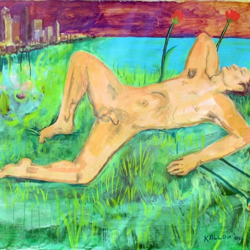 Nude Man in Seattle, acrylic on canvas, 52 by 70 in. Emilia Kallock
