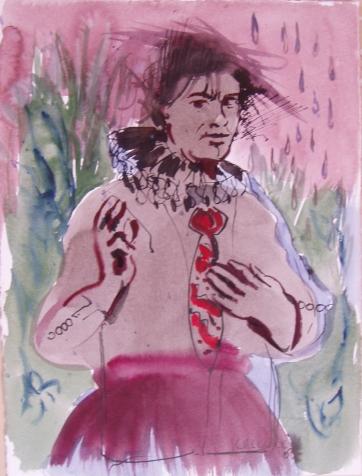Man, Red Tie, watercolor on paper, 24 by 16 in. Emilia Kallock 2003