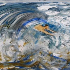 Man in Waves 2, watercolor on paper, 10 by 14 in. Emilia Kallock 2008