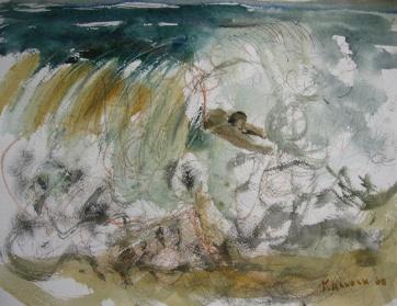Man in Waves, watercolor on paper, 8 by 10 in. Emilia Kallock 2008