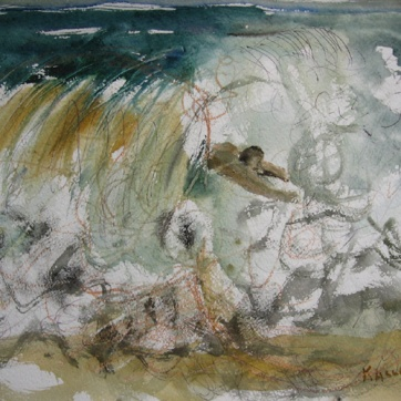 Man in Waves, watercolor on paper, 8 by 10 in. Emilia Kallock 2008