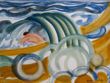 Men in Waves 4, watercolor on paper, 10 by 14 in. Emilia Kallock 2008