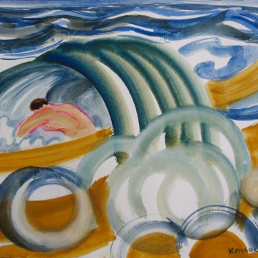 Men in Waves 4, watercolor on paper, 10 by 14 in. Emilia Kallock 2008