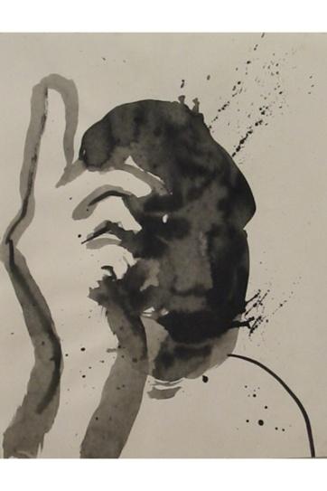 Declaration, watercolor on paper, 12 by 8 in. Emilia Kallock 2004