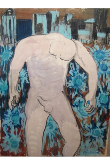 Man in the City, acrylic on paper, 57 by 40 in. Emilia Kallock 003
