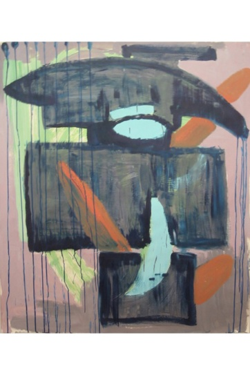 Abstract, Masculine, acrylic on paper, 42 by 40 in. Emilia Kallock 2002