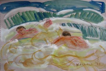Men in Waves, watercolor on paper, 10 by 14 in. Emilia Kallock 2008