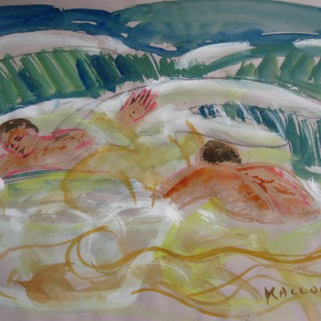 Men in Waves, watercolor on paper, 10 by 14 in. Emilia Kallock 2008