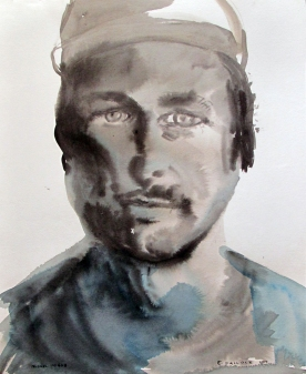 Miguel Miggs, watercolor on paper, 35 by 28 in. Emilia Kallock 2014