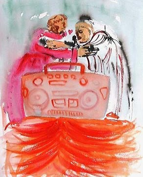 Monks and Music, watercolor on paper, 24 by 16 in. Emilia Kallock 2003