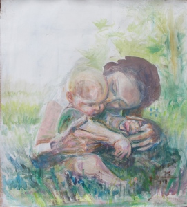 Mother and Child, acrylic on industrial wallpaper, 50 by 48 in. emilia kallock 2014