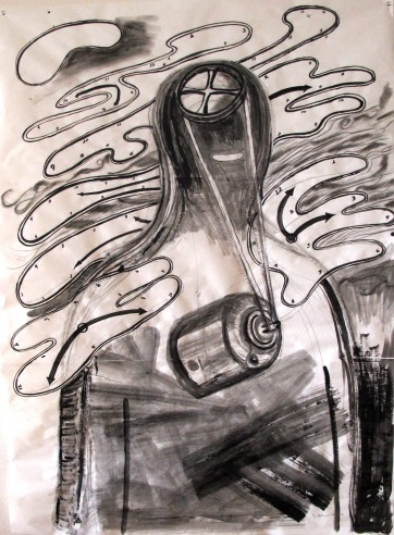 Motor, watercolor and charcoal on butcher paper, 54 by 46 in. emilia kallock 2014