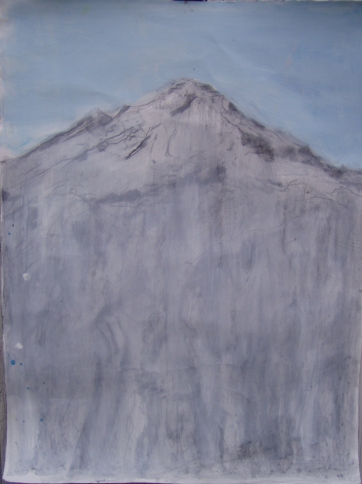 Mountain Elongated, charcoal and watercolor on paper, 40 by 30 in. Emilia Kallock 2005