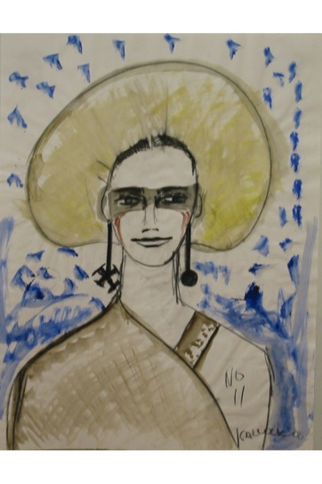 Muse 11, watercolor on paper, 32 by 22 in. Emilia Kallock 2002