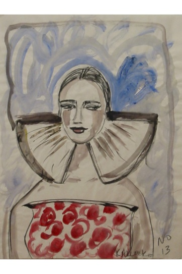 Muse 13, watercolor on paper, 32 by 22 in. Emilia Kallock 2002