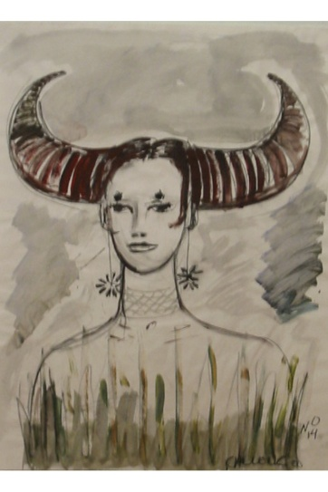 Muse 14, watercolor on paper, 32 by 22 in. Emilia Kallock 2002