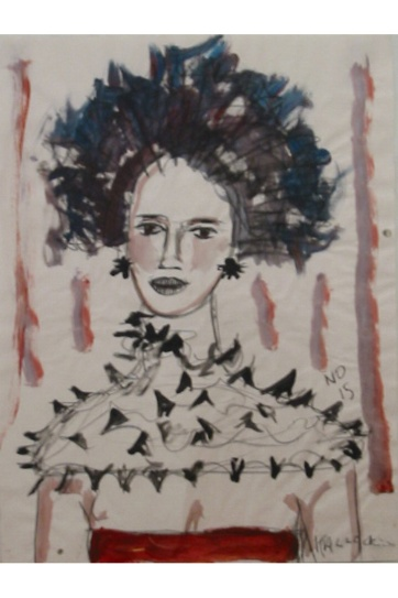 Muse 15, watercolor on paper, 32 by 22 in. Emilia Kallock 2002