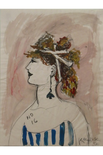 Muse 16, watercolor on paper, 32 by 22 in. Emilia Kallock 2002