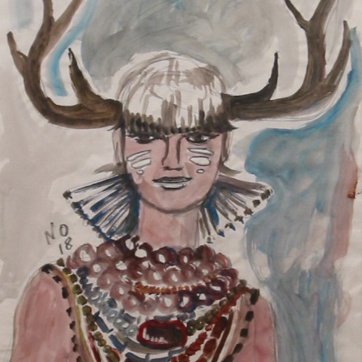 Muse 18, watercolor on paper, 32 by 22 in. Emilia Kallock 2002