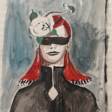 Muse 19, watercolor on paper, 32 by 22 in. Emilia Kallock 2002