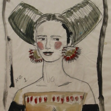 Muse 1, watercolor on paper, 32 by 22 in. Emilia Kallock 2002