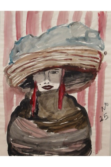 Muse 25, watercolor on paper, 32 by 22 in. Emilia Kallock 2002