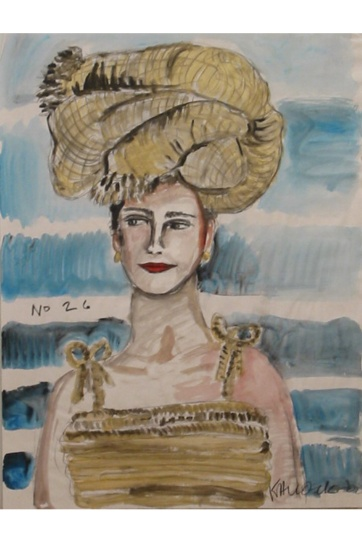 Muse 26, watercolor on paper, 32 by 22 in. Emilia Kallock 2002