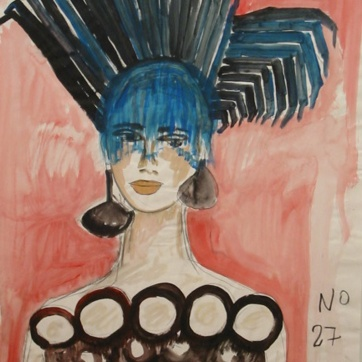 Muse 27, watercolor on paper, 32 by 22 in. Emilia Kallock 2002