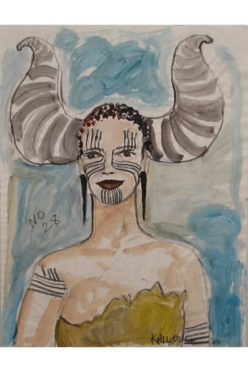 Muse 28, watercolor on paper, 32 by 22 in. Emilia Kallock 2002