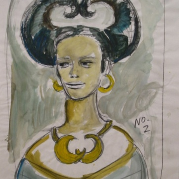 Muse 2, watercolor on paper, 32 by 22 in. Emilia Kallock 2002