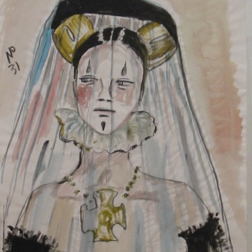 Muse 31, watercolor on paper, 32 by 22 in. Emilia Kallock 2002