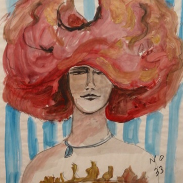 Muse 33, watercolor on paper, 32 by 22 in. Emilia Kallock 2002