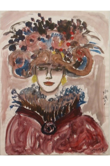 Muse 34, watercolor on paper, 32 by 22 in. Emilia Kallock 2002