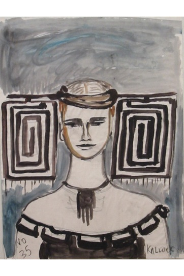 Muse 35, watercolor on paper, 32 by 22 in. Emilia Kallock 2002