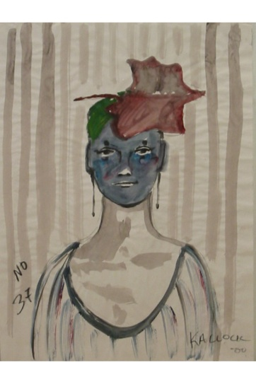 Muse 37, watercolor on paper, 32 by 22 in. Emilia Kallock 2002