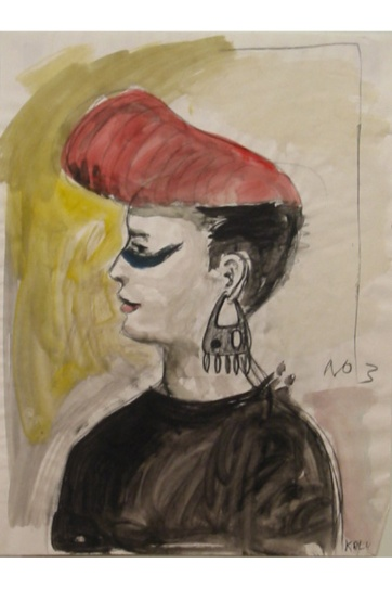 Muse 3, watercolor on paper, 32 by 22 in. Emilia Kallock 2002