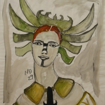 Muse 41, watercolor on paper, 32 by 22 in. Emilia Kallock 2002