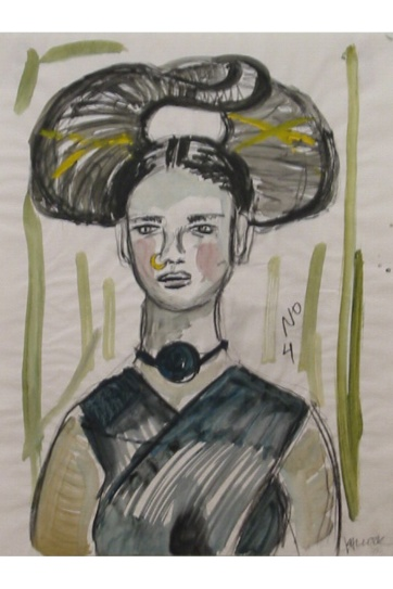 Muse 4, watercolor on paper, 32 by 22 in. Emilia Kallock 2002