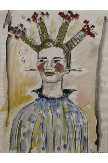 Muse 5, watercolor on paper, 32 by 22 in. Emilia Kallock 2002