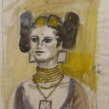 Muse 6, watercolor on paper, 32 by 22 in. Emilia Kallock 2002