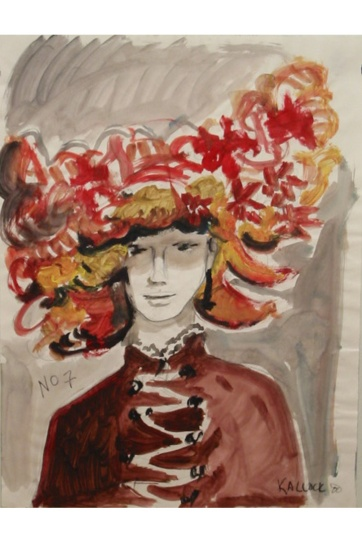 Muse 7, watercolor on paper, 32 by 22 in. Emilia Kallock 2002