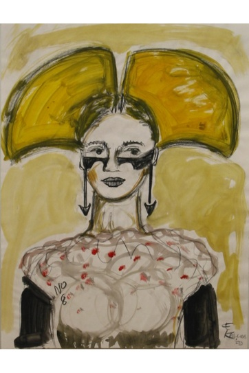 Muse 8, watercolor on paper, 32 by 22 in. Emilia Kallock 2002