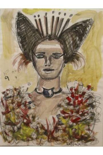 Muse 9, watercolor on paper, 32 by 22 in. Emilia Kallock 2002