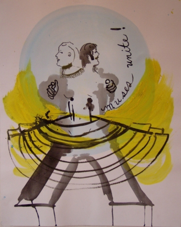 Muses United, watercolor on paper, 14 by 12 in. Emilia Kallock 2005