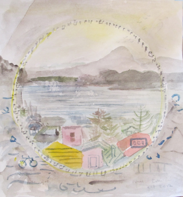 Music Scenery 1, watercolor on paper, 8 by 7 in. Emilia Kallock 2012