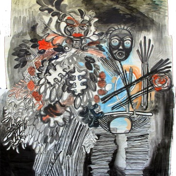 Green Man and Dzunukwa, acrylic on meat packing paper, 70 by 57 in. Emilia Kallock 2013