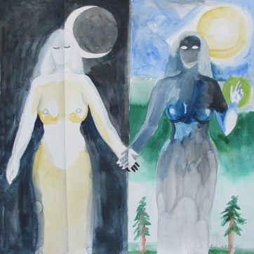 24 Hour Girls, watercolor on two pieces of paper, 30 by 29 in. Emilia Kallock 2008