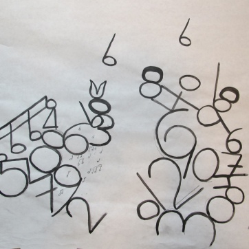 Numbers Notes 2, ink on paper, 14 by 14 in. Emilia Kallock 2013
